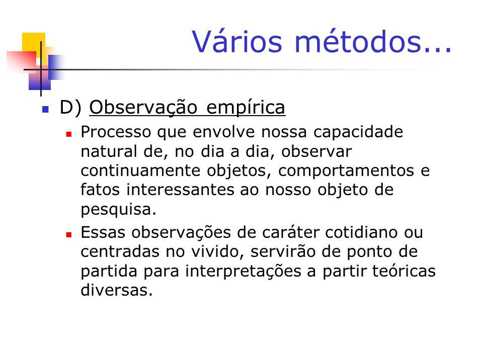 Vários métodos... D) Observação empírica