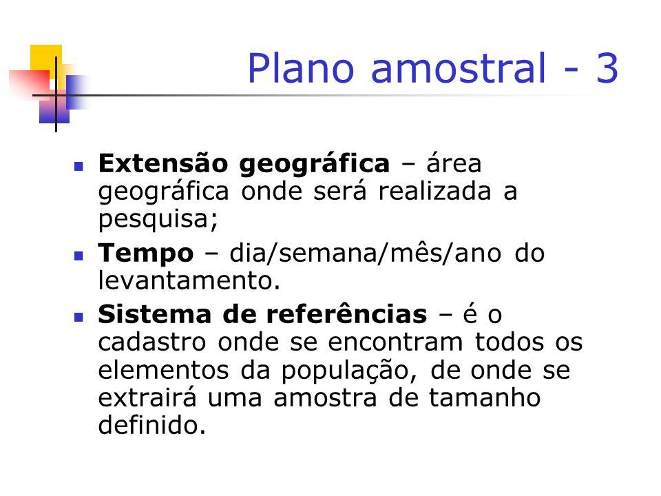 Plano amostral - 3Extensão geográfica – área geográfica onde será realizada a pesquisa; Tempo – dia/semana/mês/ano do levantamento.