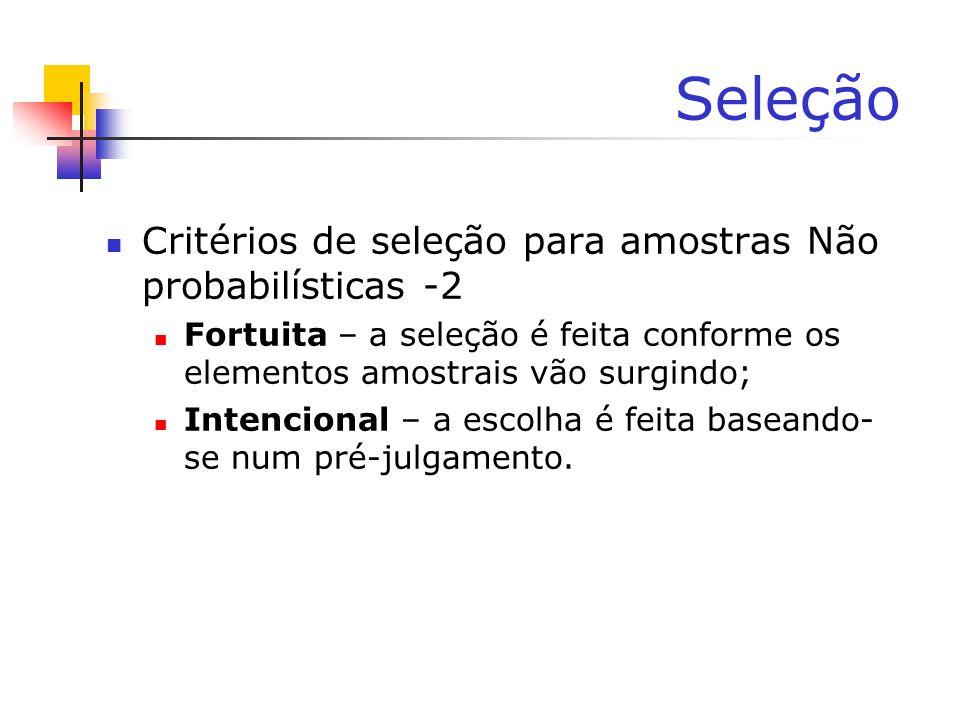 Seleção Critérios de seleção para amostras Não probabilísticas -2