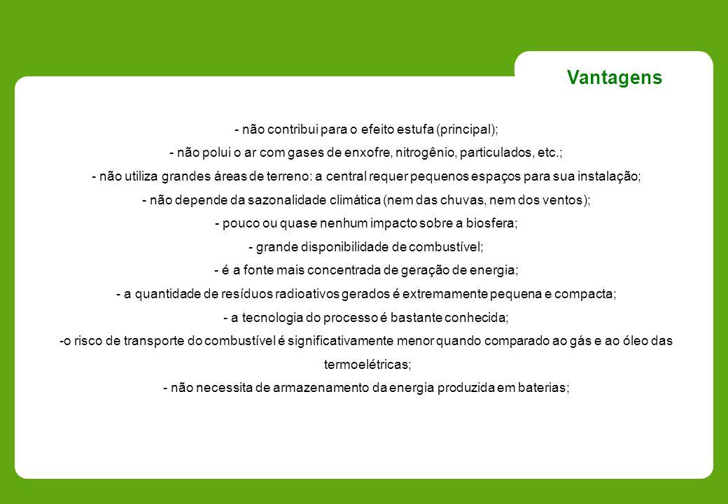 Vantagens - não contribui para o efeito estufa (principal);