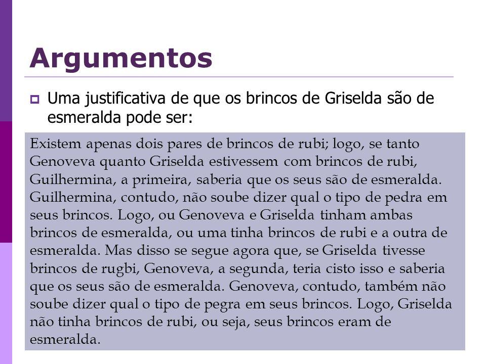 Argumentos Uma justificativa de que os brincos de Griselda são de esmeralda pode ser: