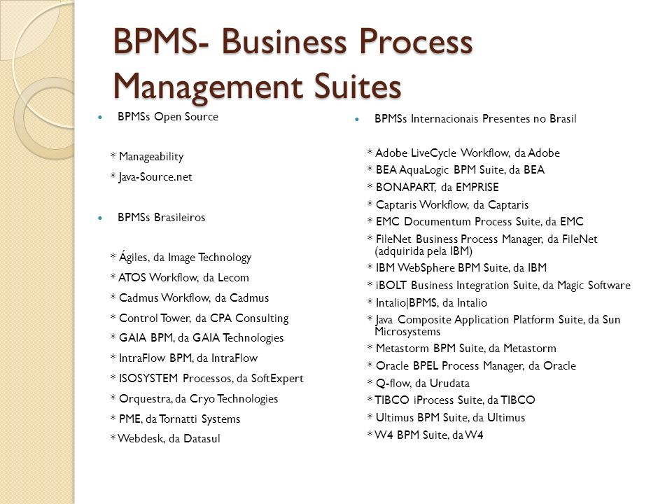 BPMS- Business Process Management Suites