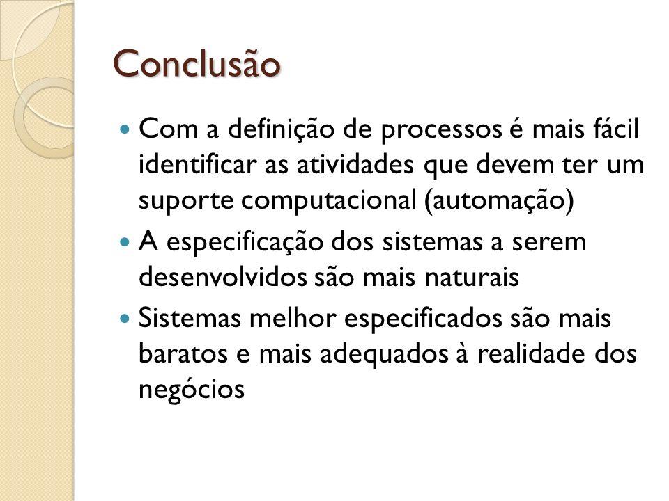 Conclusão Com a definição de processos é mais fácil identificar as atividades que devem ter um suporte computacional (automação)