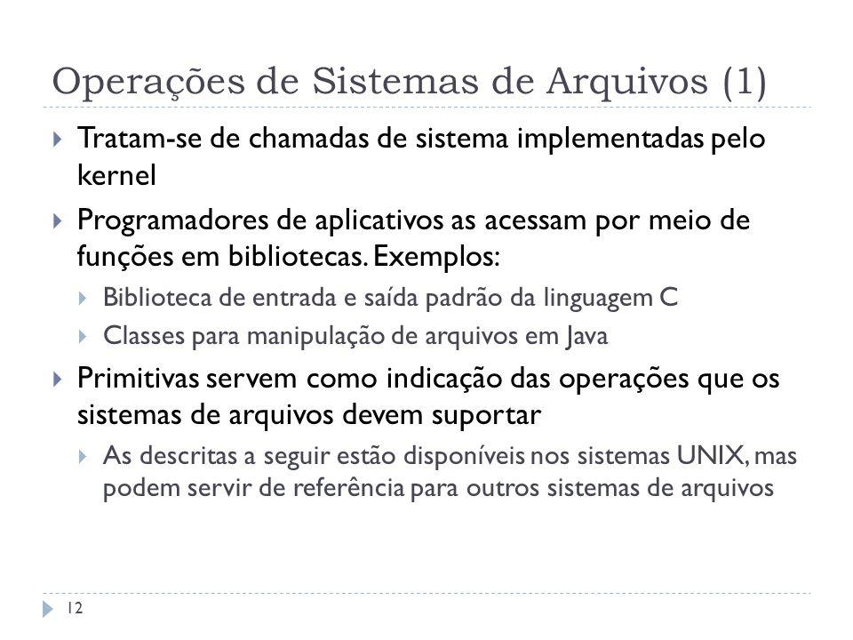 Operações de Sistemas de Arquivos (1)
