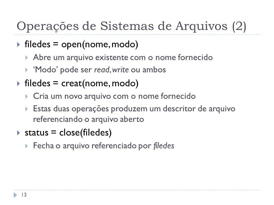 Operações de Sistemas de Arquivos (2)