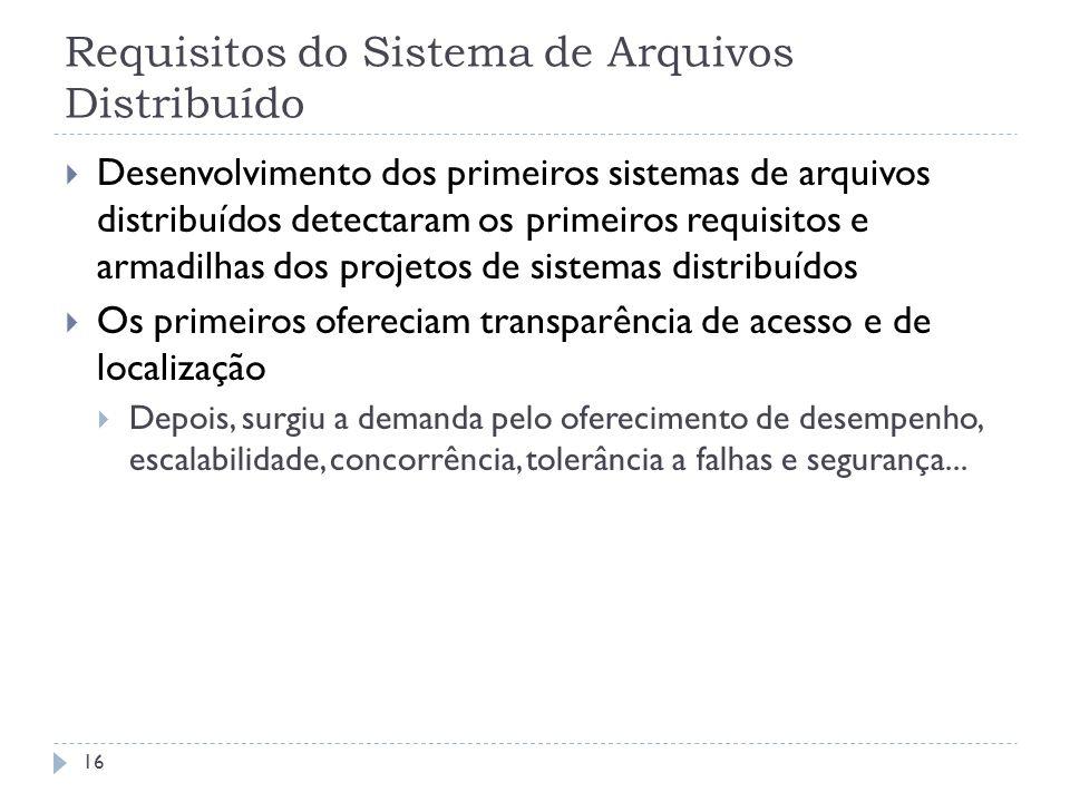 Requisitos do Sistema de Arquivos Distribuído
