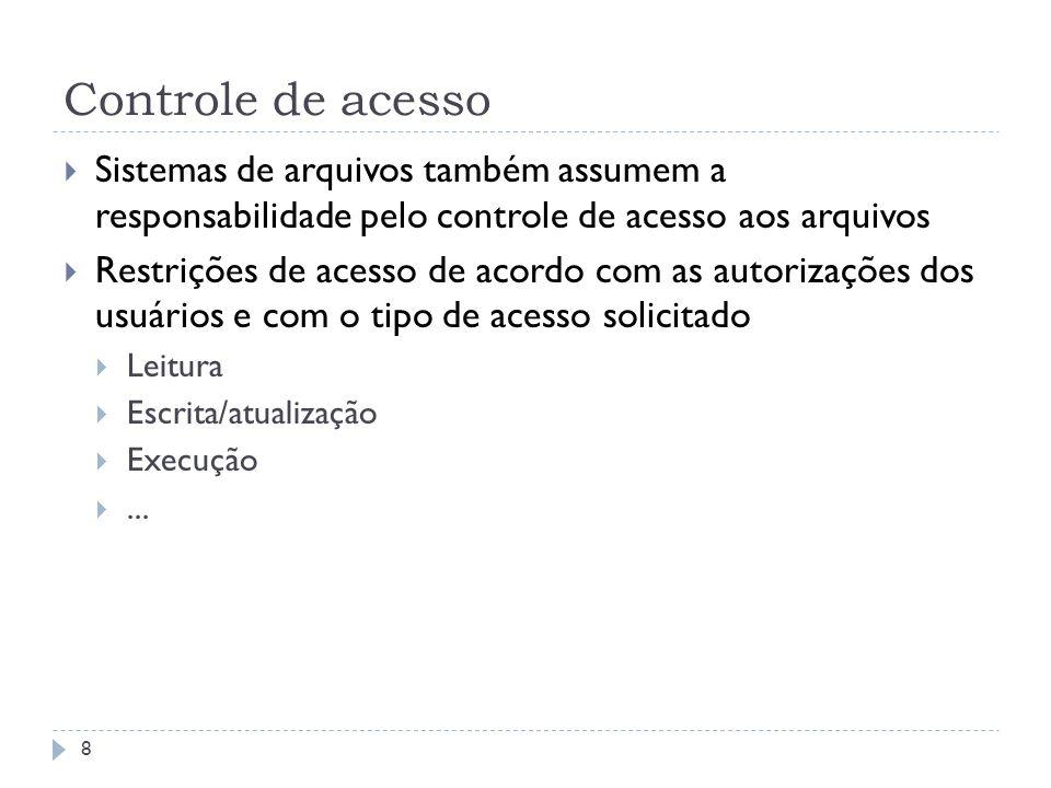 Controle de acesso Sistemas de arquivos também assumem a responsabilidade pelo controle de acesso aos arquivos.