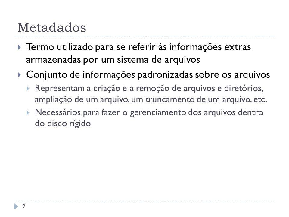 Metadados Termo utilizado para se referir às informações extras armazenadas por um sistema de arquivos.