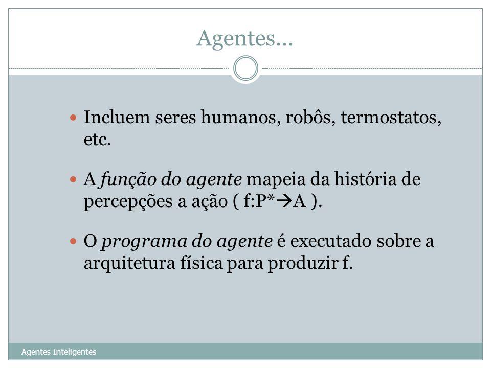 Agentes... Incluem seres humanos, robôs, termostatos, etc.