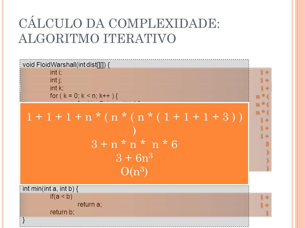 CÁLCULO DA COMPLEXIDADE: ALGORITMO ITERATIVO