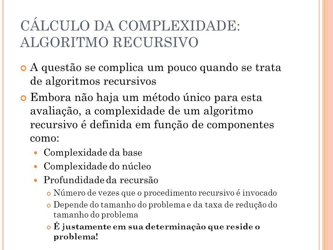 CÁLCULO DA COMPLEXIDADE: ALGORITMO RECURSIVO