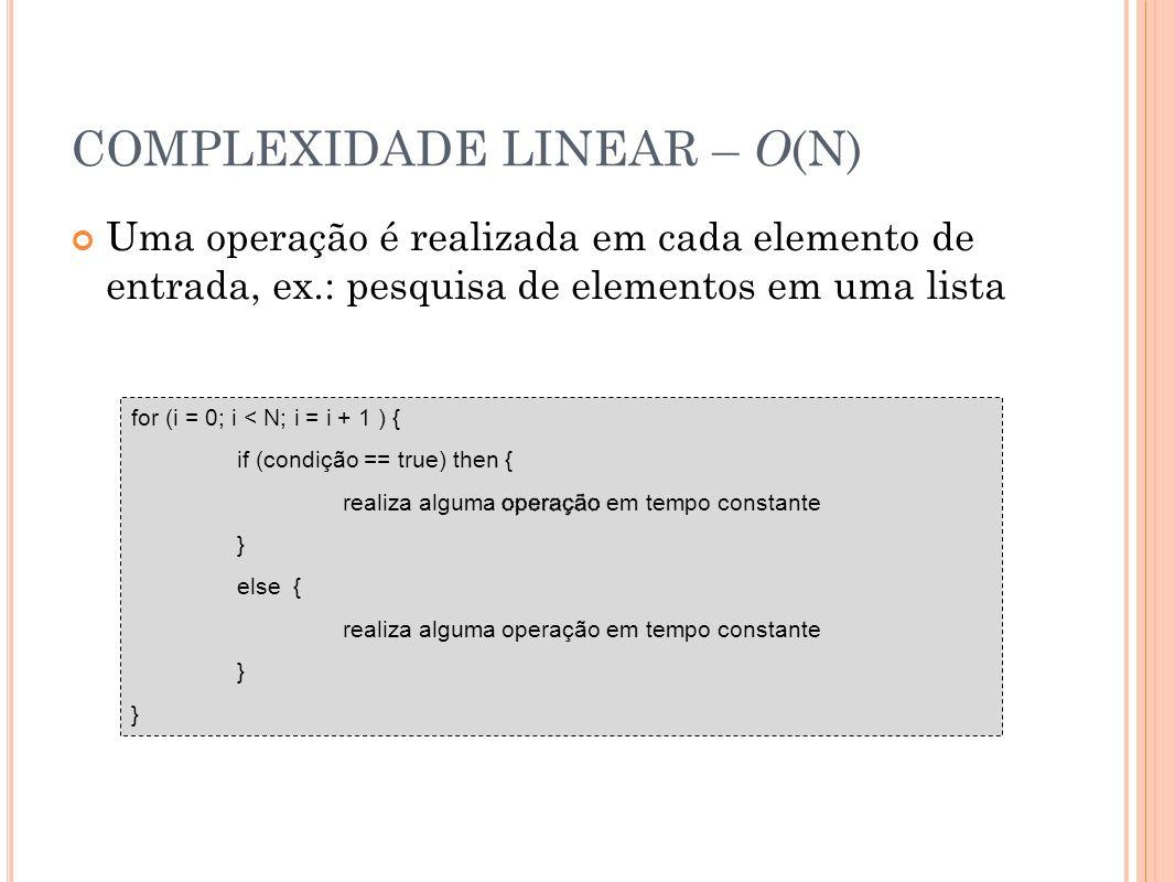 COMPLEXIDADE LINEAR – O(N)