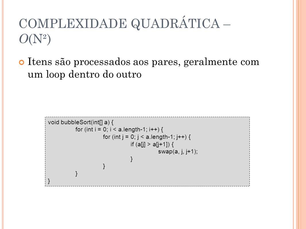 COMPLEXIDADE QUADRÁTICA – O(N²)