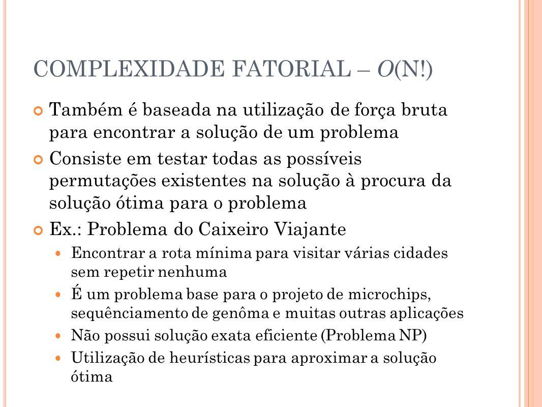 COMPLEXIDADE FATORIAL – O(N!)