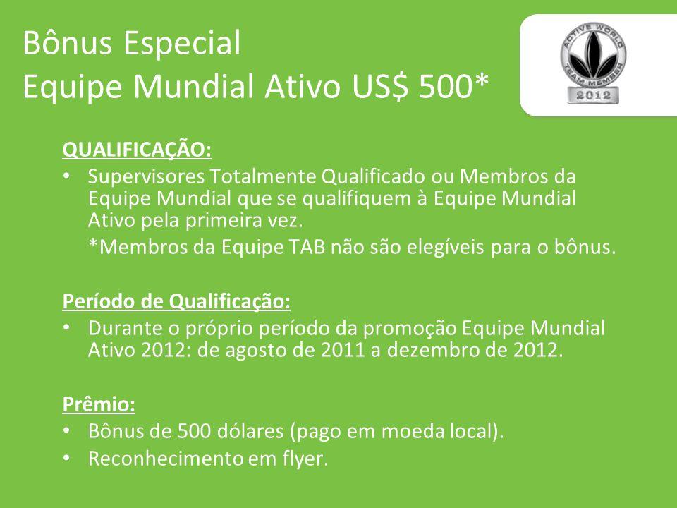 Bônus Especial Equipe Mundial Ativo US$ 500*