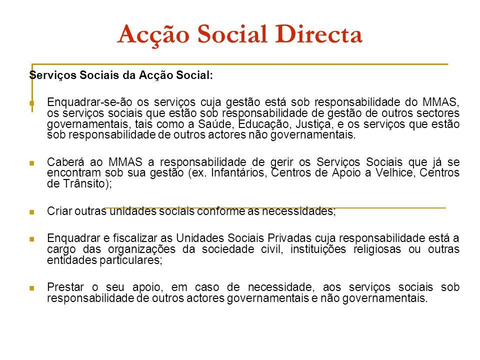 Acção Social Directa Serviços Sociais da Acção Social: