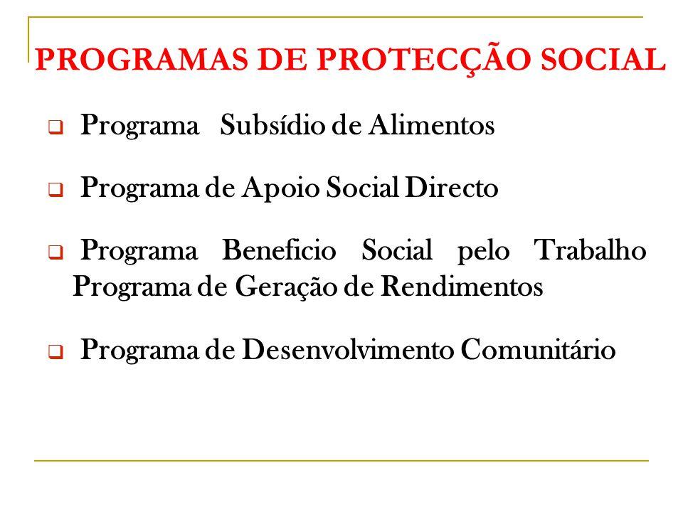 PROGRAMAS DE PROTECÇÃO SOCIAL