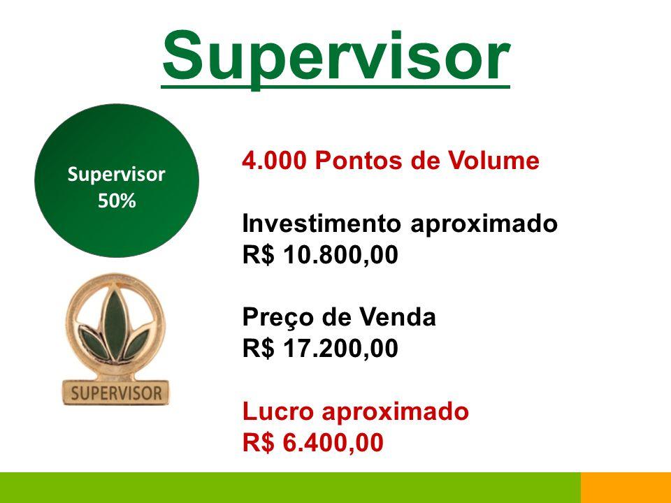 Supervisor 4.000 Pontos de Volume Investimento aproximado R$ 10.800,00