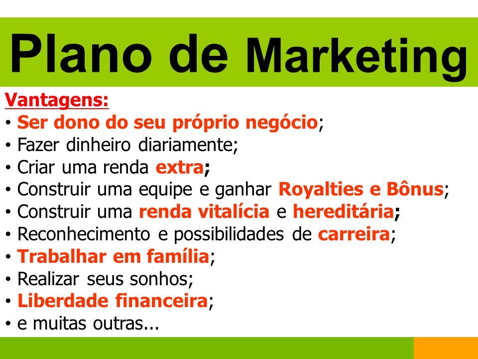 Plano de Marketing Vantagens: Ser dono do seu próprio negócio;