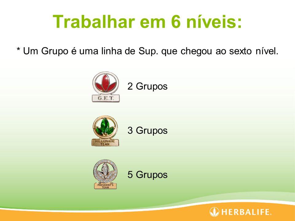 Trabalhar em 6 níveis: * Um Grupo é uma linha de Sup.