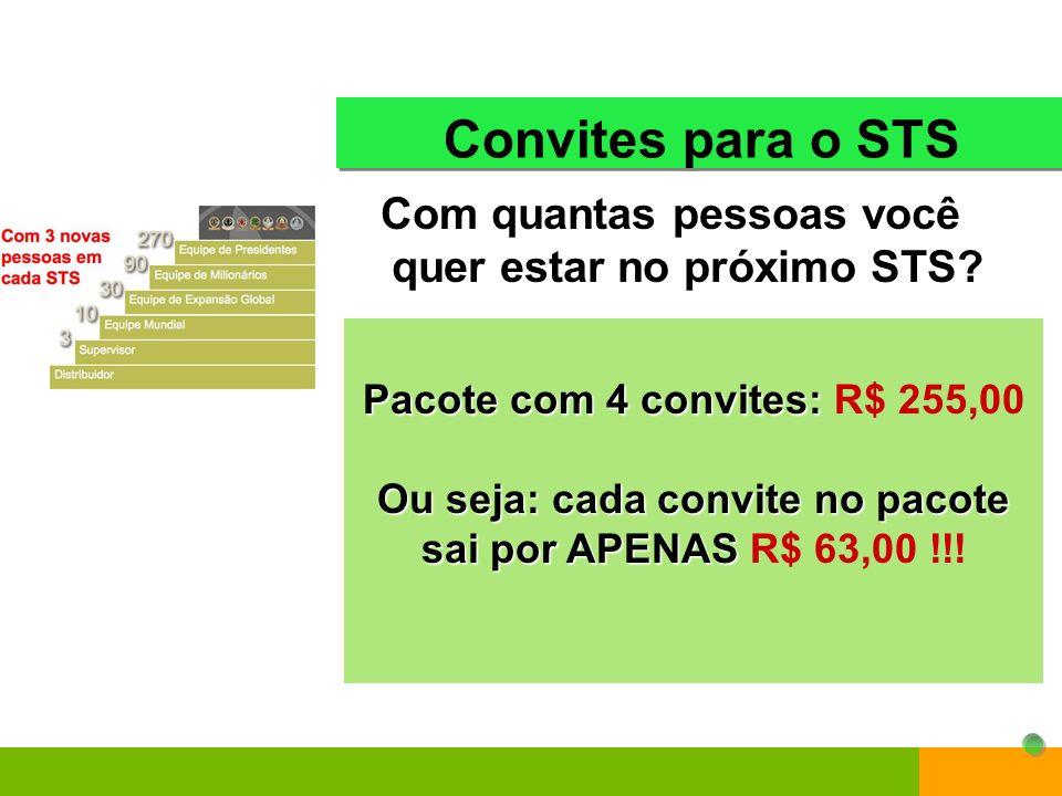 Pacote com 4 convites: R$ 255,00 Ou seja: cada convite no pacote