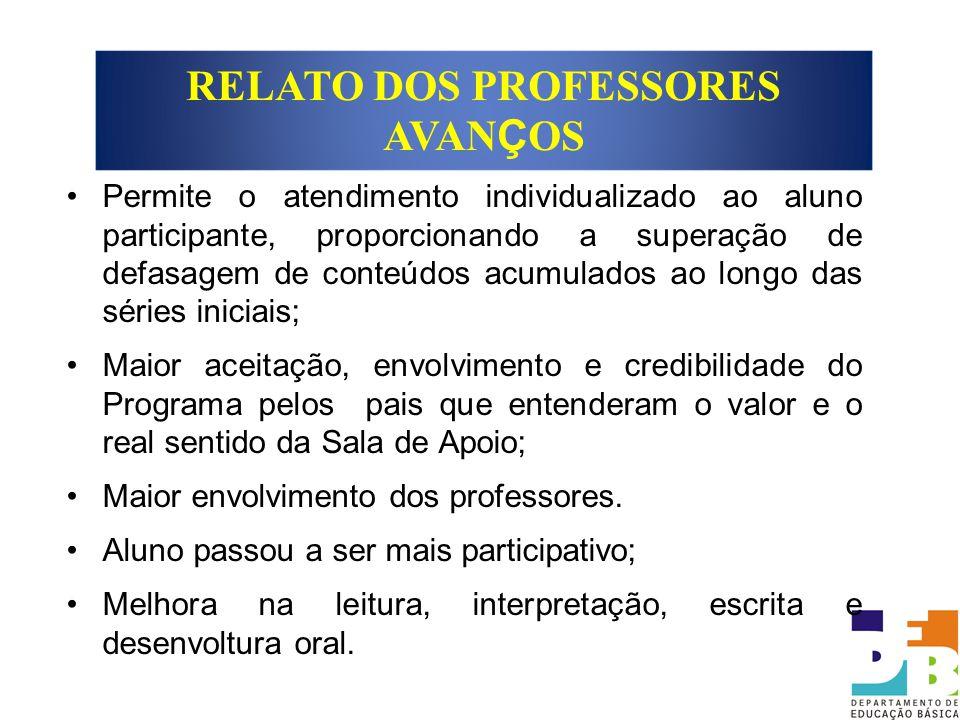 RELATO DOS PROFESSORES AVANÇOS