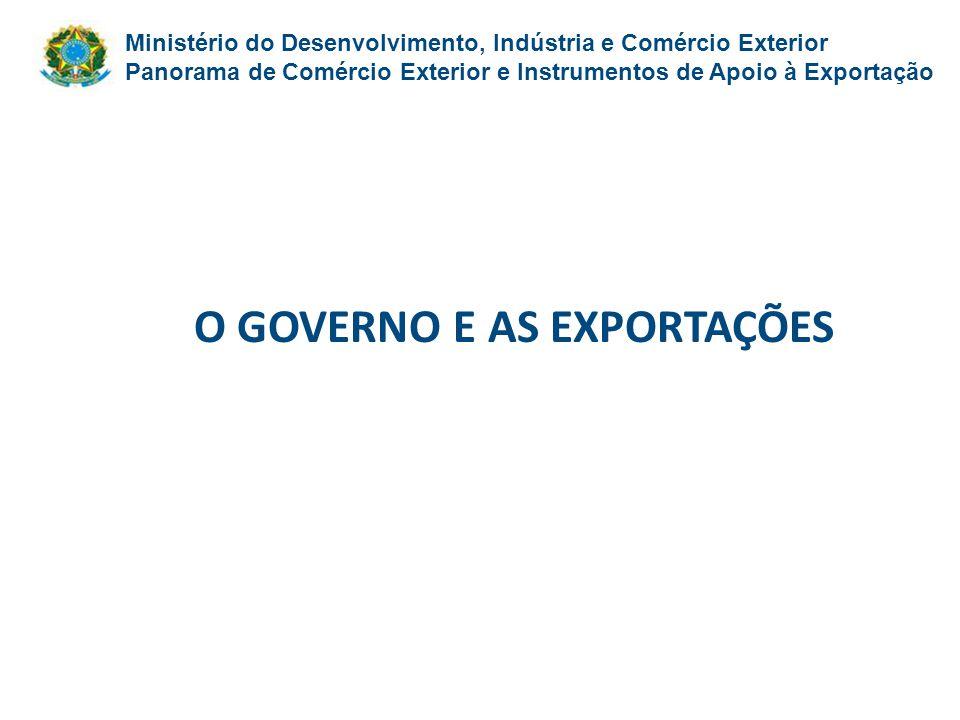 O GOVERNO E AS EXPORTAÇÕES