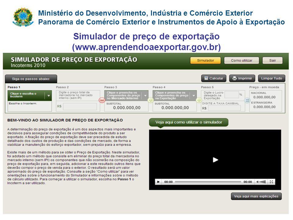 Simulador de preço de exportação