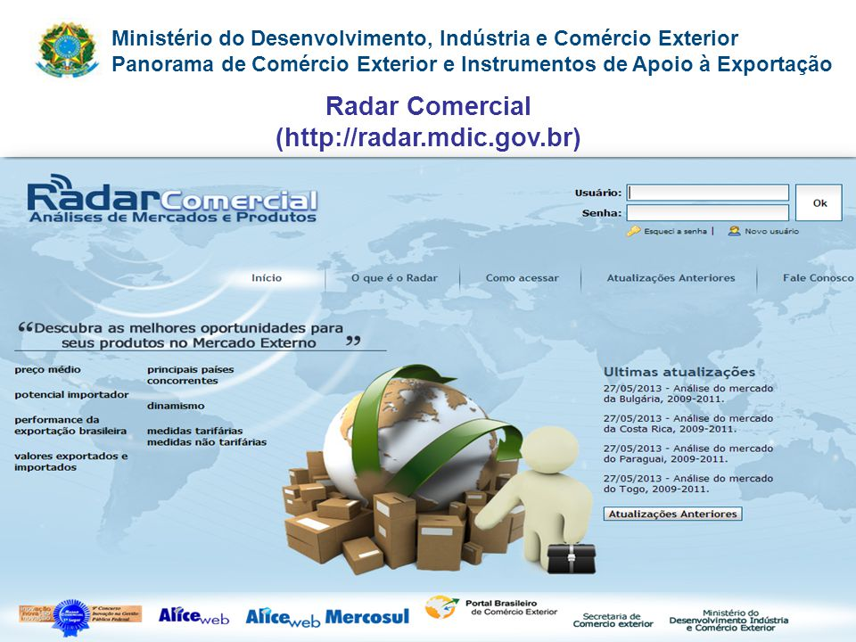 Radar Comercial (http://radar.mdic.gov.br)