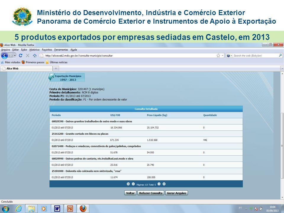5 produtos exportados por empresas sediadas em Castelo, em 2013