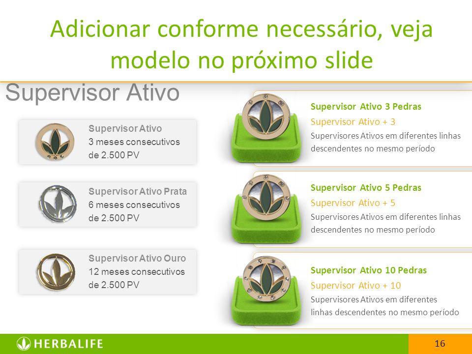 Adicionar conforme necessário, veja modelo no próximo slide