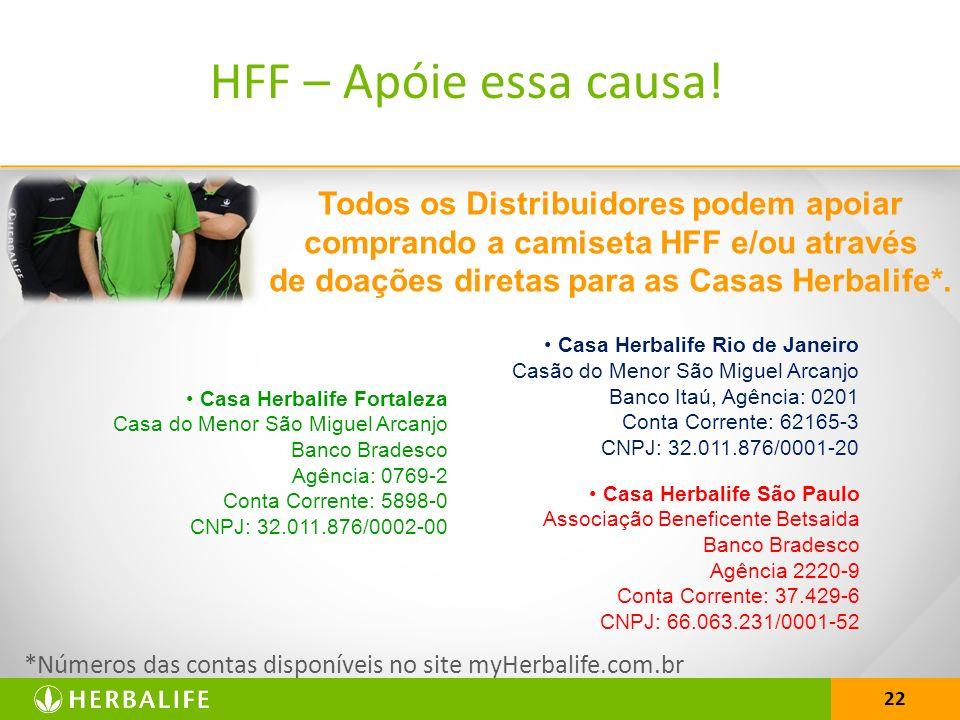 HFF – Apóie essa causa! Todos os Distribuidores podem apoiar comprando a camiseta HFF e/ou através de doações diretas para as Casas Herbalife*.