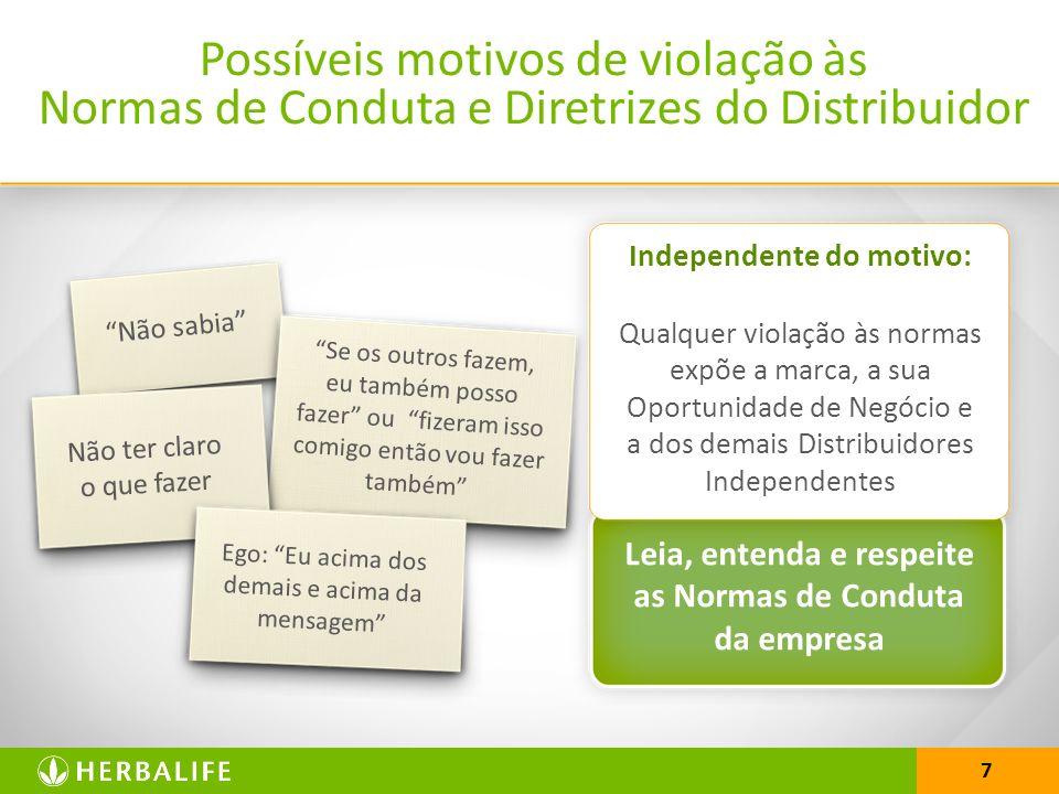 25/03/2017 Possíveis motivos de violação às Normas de Conduta e Diretrizes do Distribuidor. Independente do motivo: