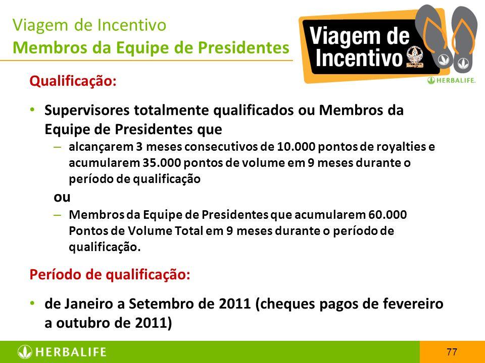 Viagem de Incentivo Membros da Equipe de Presidentes