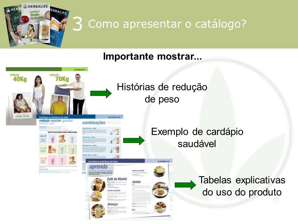 3 Como apresentar o catálogo Importante mostrar...