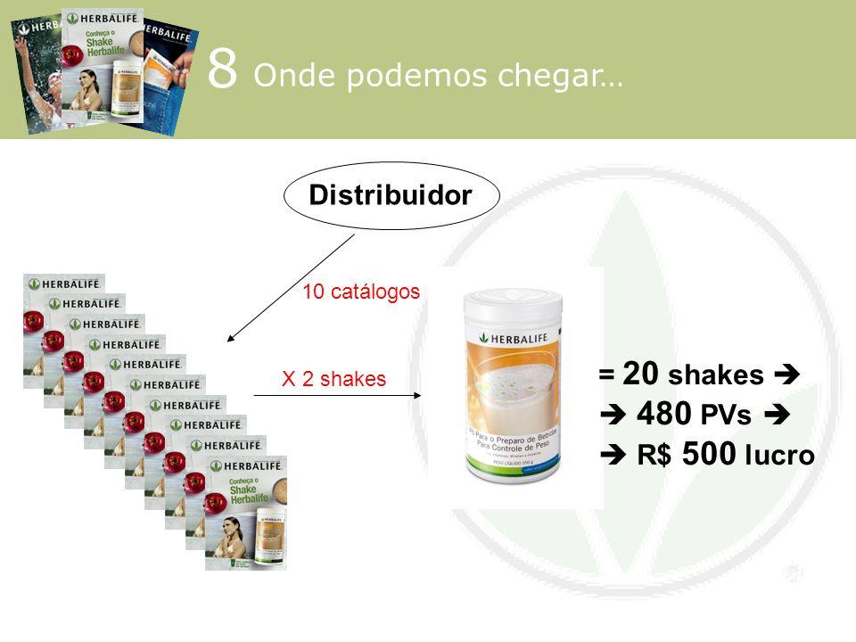 8 Onde podemos chegar… Distribuidor = 20 shakes   480 PVs 