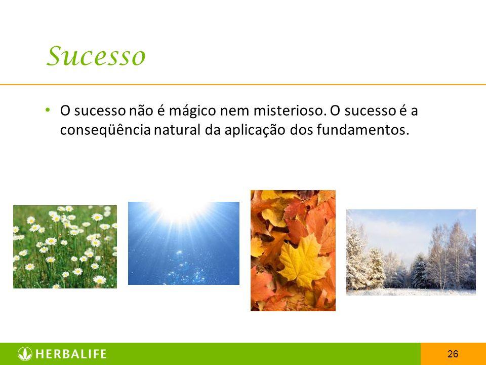 Sucesso O sucesso não é mágico nem misterioso. O sucesso é a conseqüência natural da aplicação dos fundamentos.