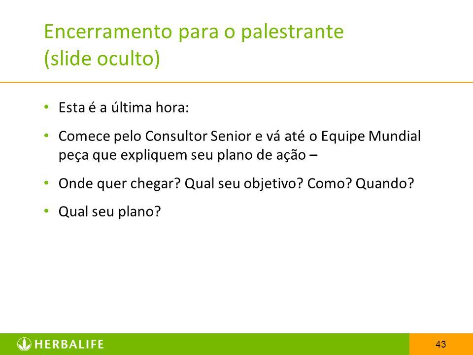 Encerramento para o palestrante (slide oculto)