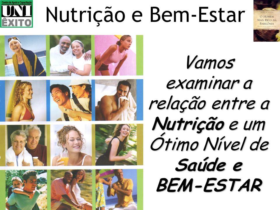 Nutrição e Bem-Estar Vamos examinar a relação entre a Nutrição e um Ótimo Nível de Saúde e BEM-ESTAR.