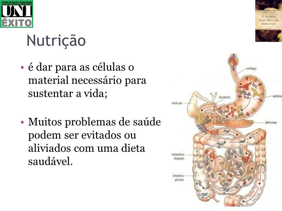 Nutrição é dar para as células o material necessário para sustentar a vida;
