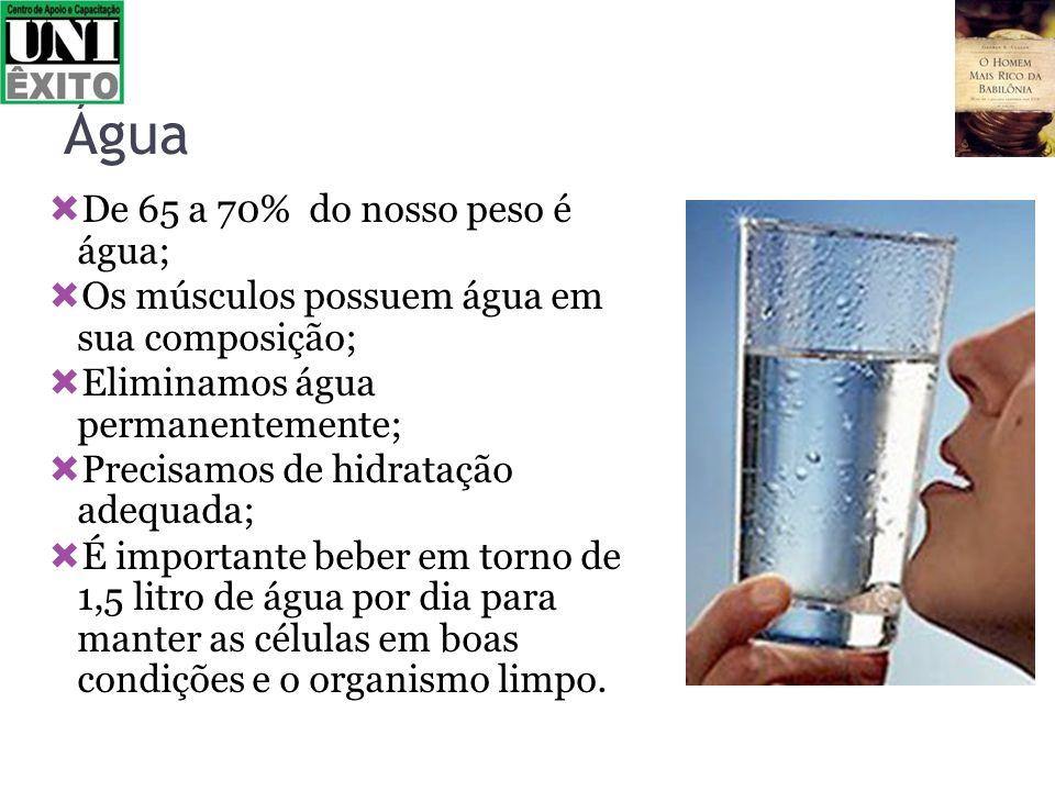 Água De 65 a 70% do nosso peso é água;