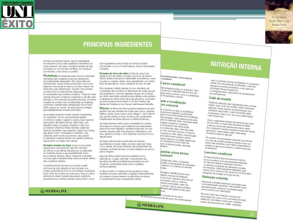 Principais ingredientes dos produtos de Nutrição Interna e Conceitos Nutricionais.