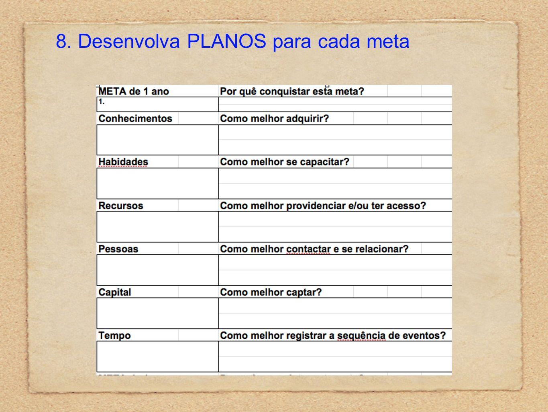 8. Desenvolva PLANOS para cada meta
