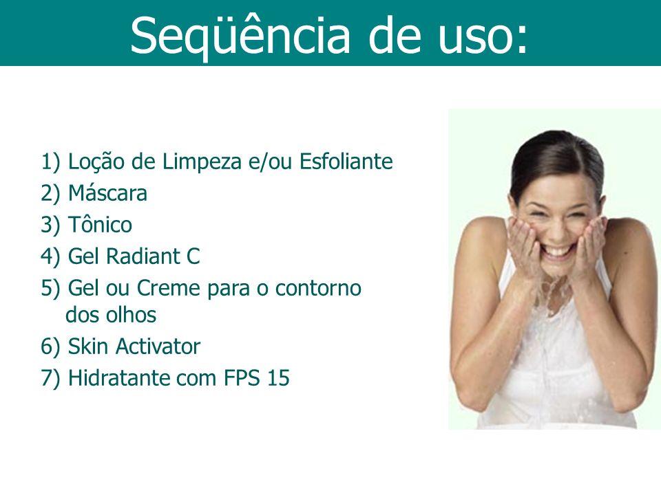 Seqüência de uso: 1) Loção de Limpeza e/ou Esfoliante 2) Máscara