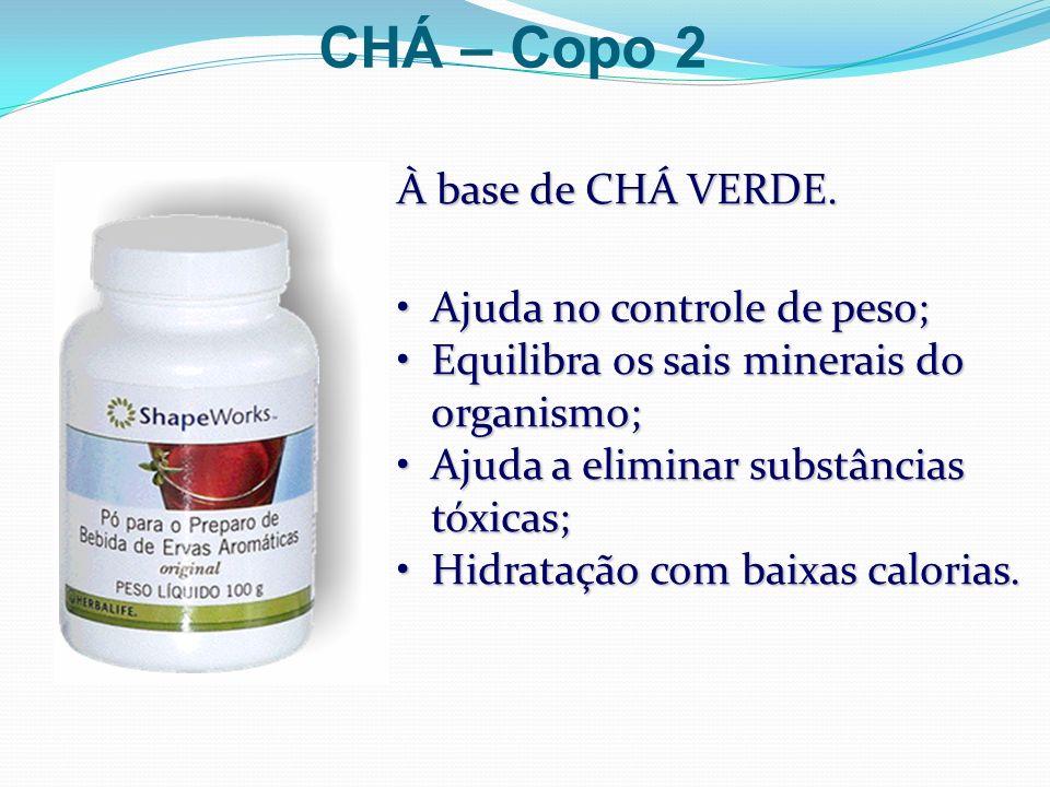 CHÁ – Copo 2 À base de CHÁ VERDE. Ajuda no controle de peso;