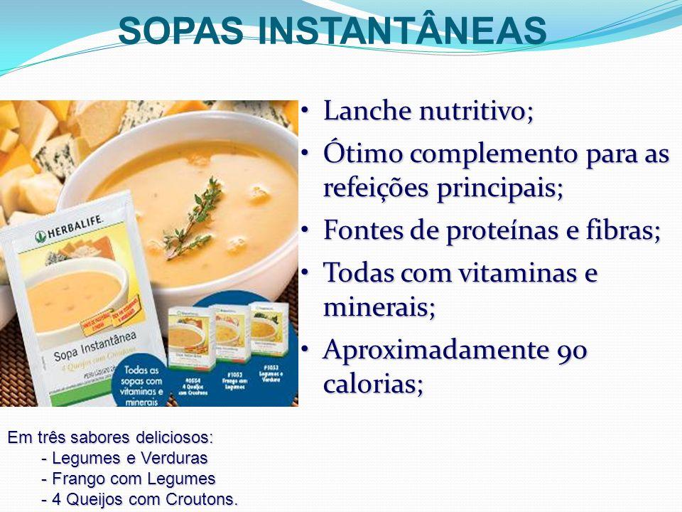 SOPAS INSTANTÂNEAS Lanche nutritivo;