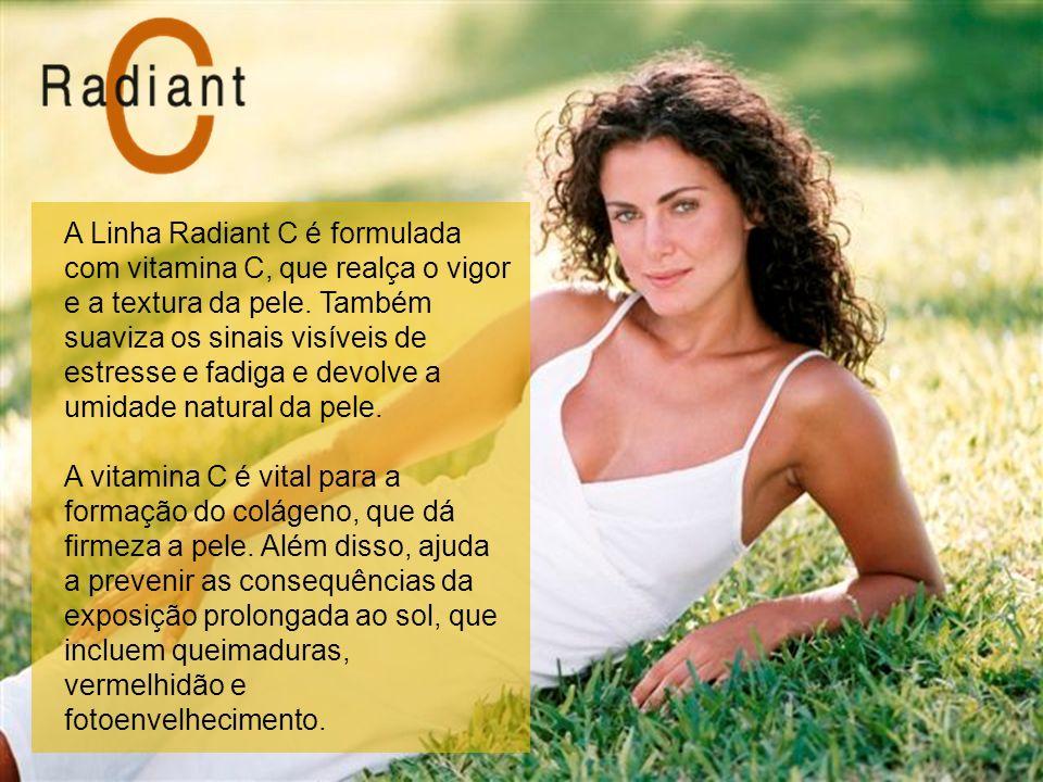 A Linha Radiant C é formulada com vitamina C, que realça o vigor e a textura da pele. Também suaviza os sinais visíveis de estresse e fadiga e devolve a umidade natural da pele.
