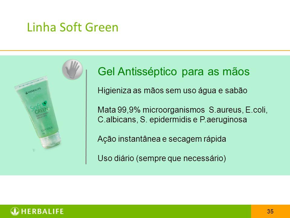 Linha Soft Green Gel Antisséptico para as mãos
