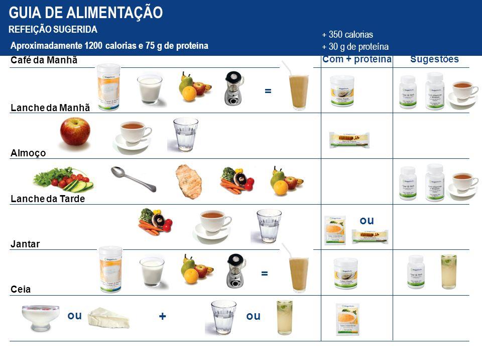 GUIA DE ALIMENTAÇÃO + = ou = ou ou REFEIÇÃO SUGERIDA + 350 calorias