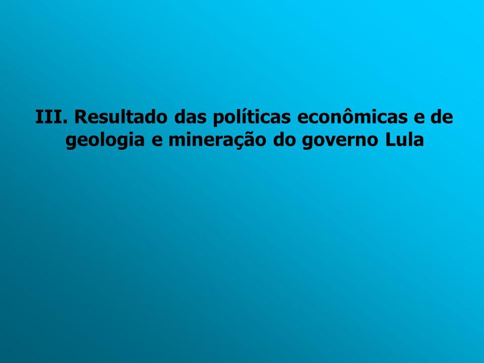 III. Resultado das políticas econômicas e de geologia e mineração do governo Lula